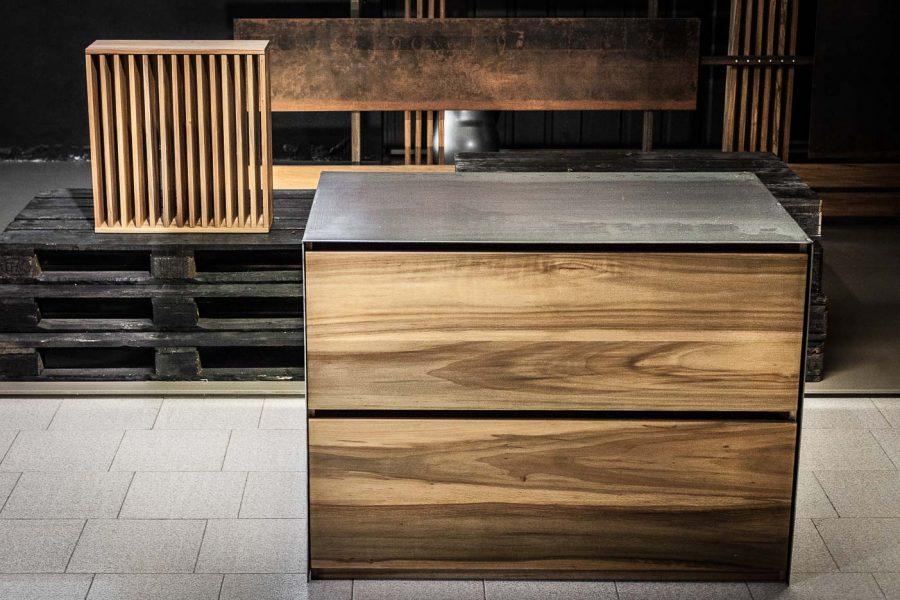 cassettiera in legno e ferro   Menegatti LAB